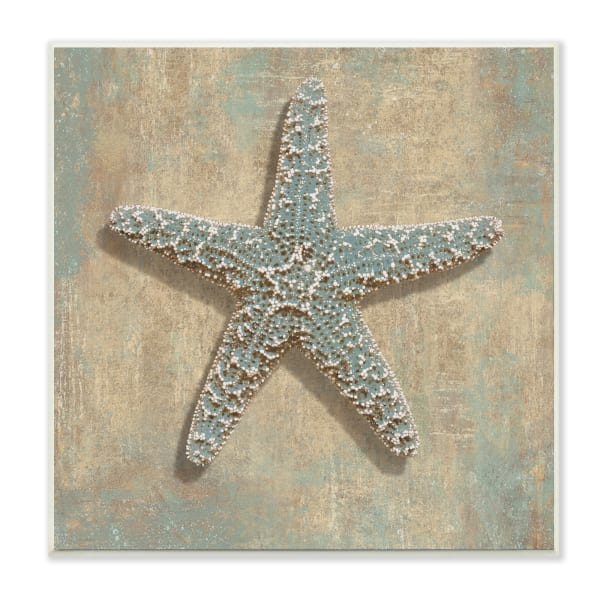 Nautical Starfish Ocean Animal Muted Neutral Wood Wall Art, 12 x 12