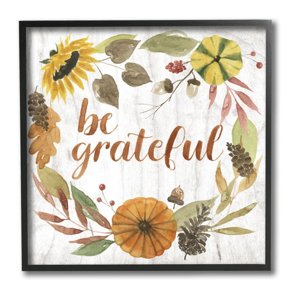 Be Thankful Whimsical Text Autumn Foliage Black Framed Wall Art, 12 x 12