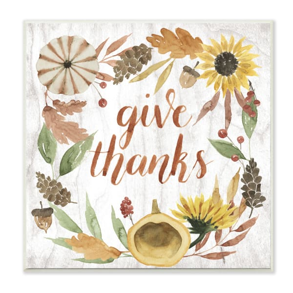 Give Thanks Whimsical Typography Harvest Foliage Wood Wall Art, 12 x 12