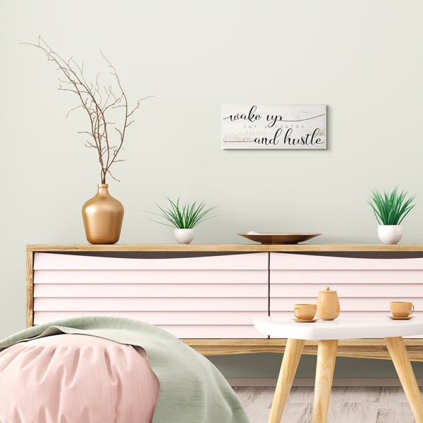 Wake Up Say Prayer Hustle Phrase Distressed Paint Wood Wall Art, 7 x 17