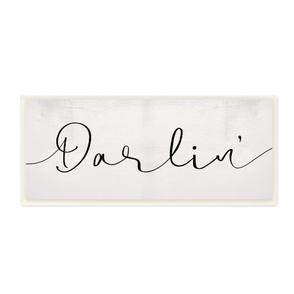 Darlin' Sentiment Elegant Cursive Typography Wood Wall Art, 7 x 17