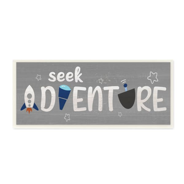 Seek Adventure Phrase Outer Space Imagination Wood Wall Art, 7 x 17