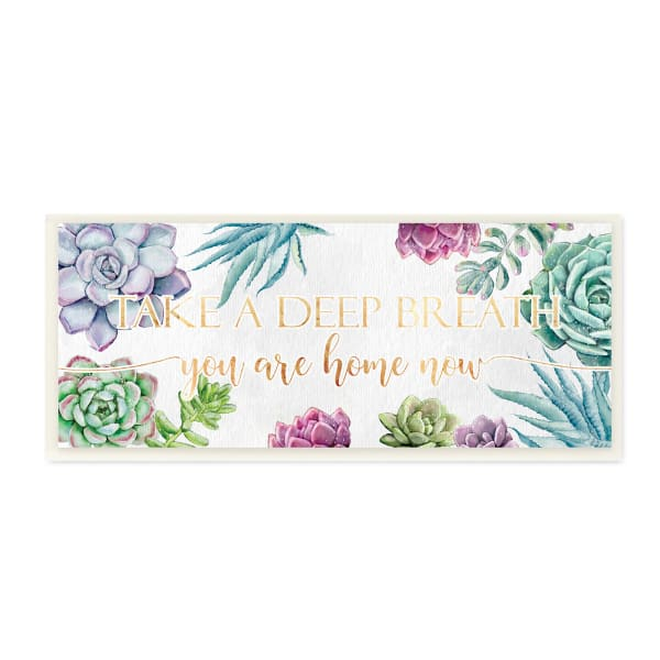 Take A Deep Breath Phrase Succulent Plants Wood Wall Art, 7 x 17