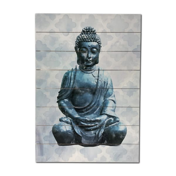 Blue Buddha 18x26 Wood Wall Art