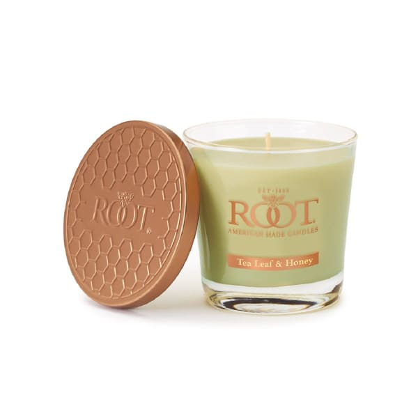 Root Candles Small Veriglass Scented Beeswax Blend Candle, Small, Tea Leaf & Honey 6.3oz