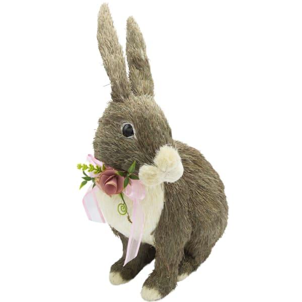 Pier 1 Sisal Bunny with Flowers 9.5