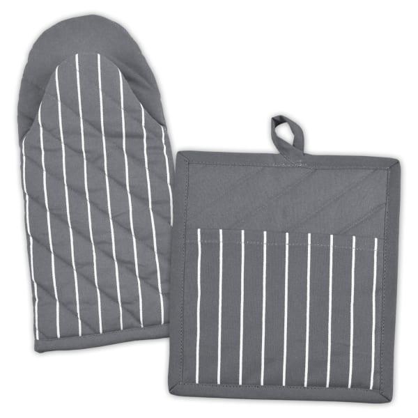 Gray Striped Potholder and Kitchen Mitt Set