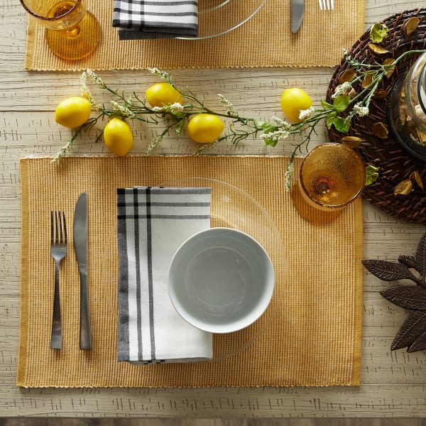 Honey Gold & White 2-Tone Ribbed Set of 6 Placemats