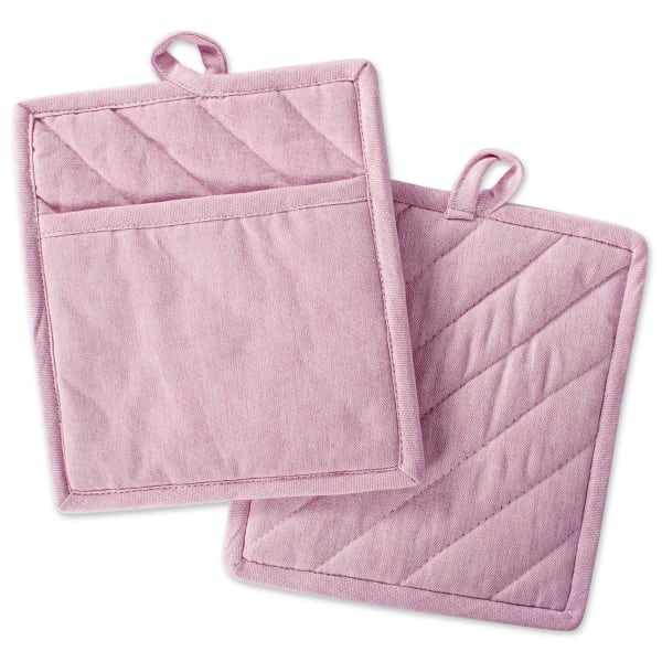 Blush Chambray  Set of 2 Pot Holders