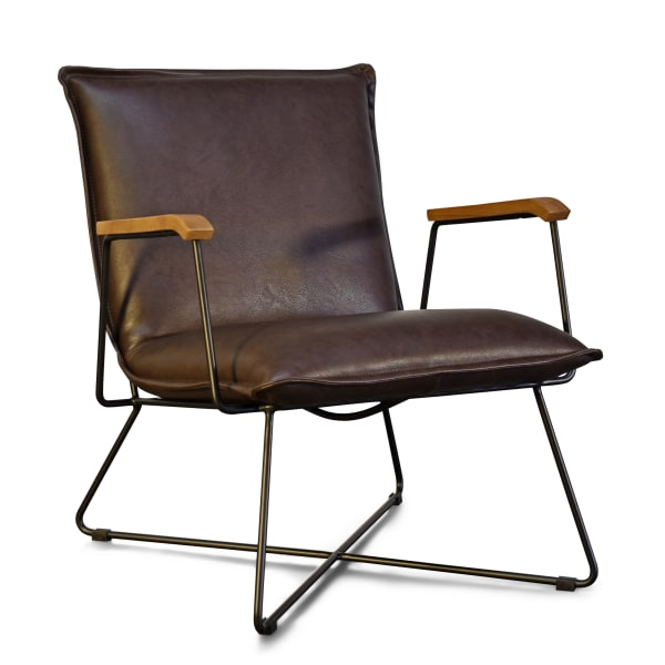 Brown Faux Leather Black Metal Base Accent Chair