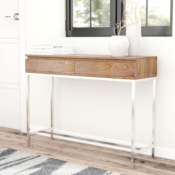 Natural Walnut Brushed Stainless Base Console Table