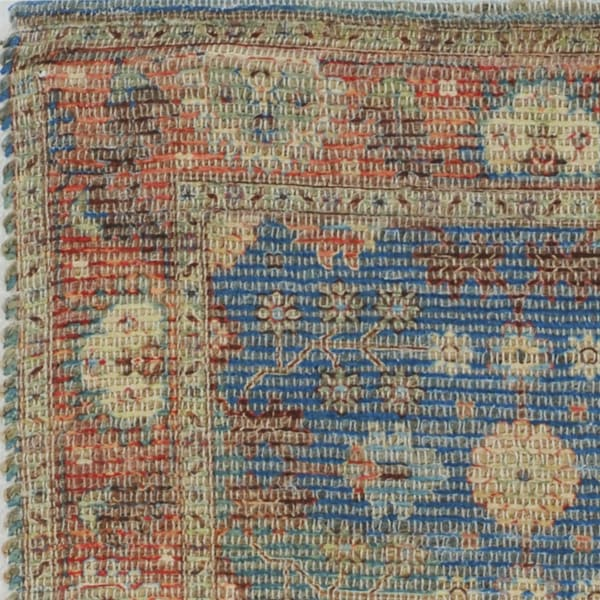 Vibrant Traditional Style Blue and Red  Design Area Rug