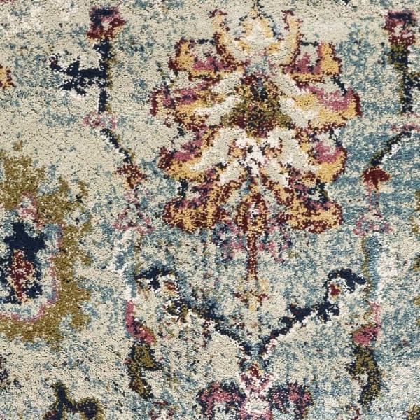Lt Blue Floral Traditional Area Rug
