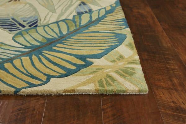 Wool Ivory/Teal Area Rug