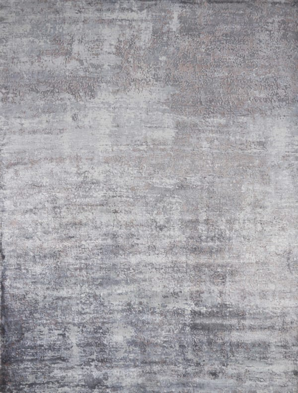 Shades of Slate Gray Abstract Faux Silk Area Rug