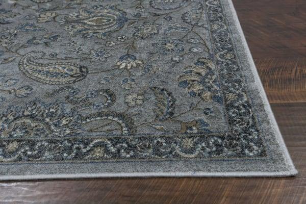 Gray Blue Paisley Faux Silk Area Rug