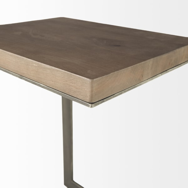 Faye Medium Brown Wood With Antique Nickel Finished Metal Base 14L x 18W x 26H  C Side Table