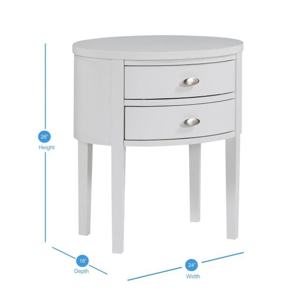 Vivian White Two-drawer Nightstand
