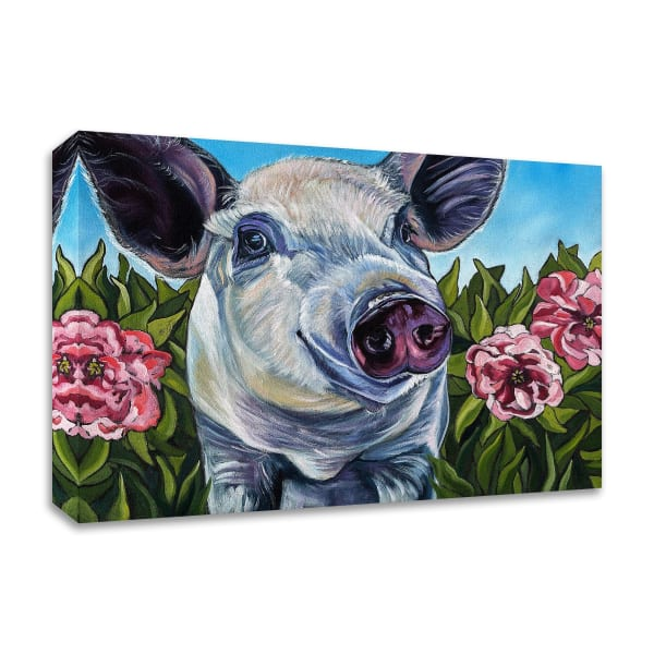 Pigs and Peonies by Kathryn Wronski  Wrapped Canvas Wall Art