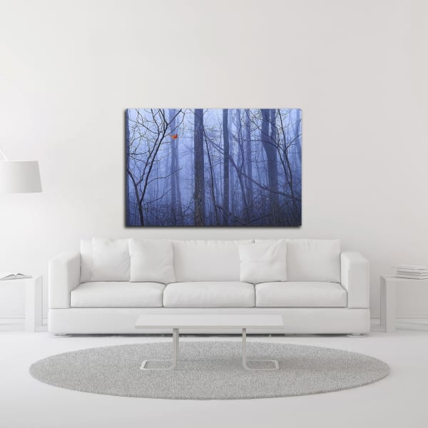Red Cardinal in a Blue Forest by Dale O'Dell Wrapped Canvas Wall Art