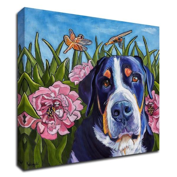 Dog and Dragonflies by Kathryn Wronski Canvas Wall Art