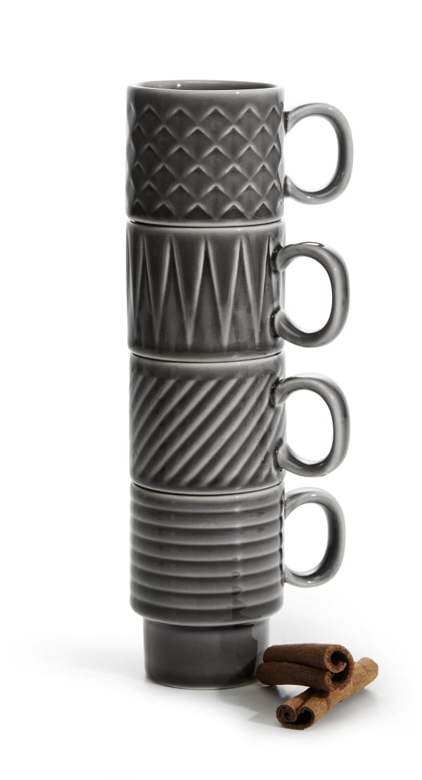 Coffee & More grey 4 pack espresso cup