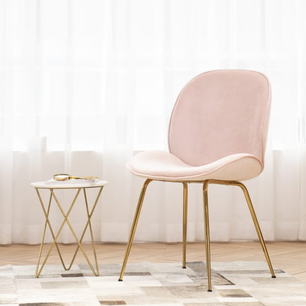 Pink Velvet With Golden Legs Dining Chair