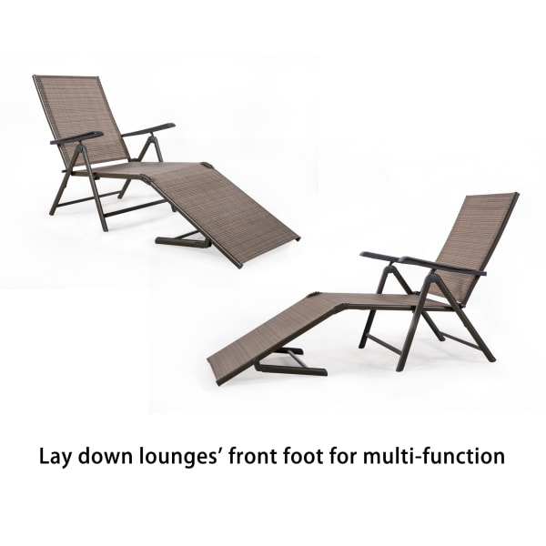 Adjustable 2 Pack-Brown Chaise Lounger