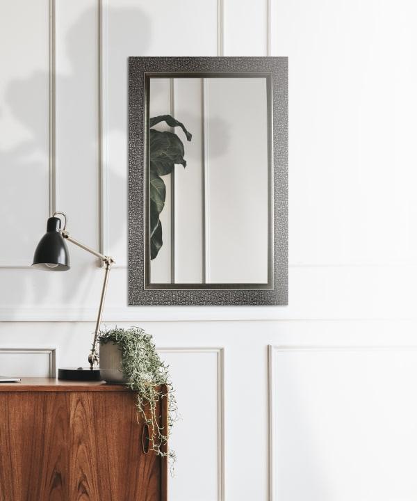 Rectangle Silver Grey Mosaic Designer Wall Mirror
