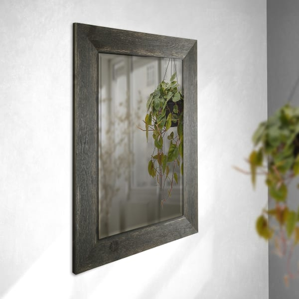 Rectangle Black Real Wood Wall Mirror