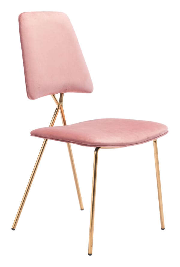 Pink Gold and Velvet Steel & Plywood Set of 2 Chairs