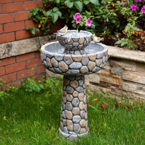 Stone-Like Outdoor 2 Tiered Birdbath Fountain