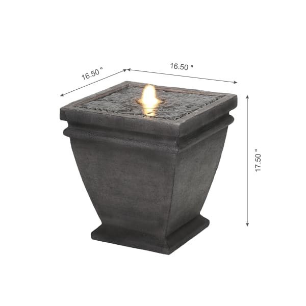Low Planter Outdoor Fountain with LED Light