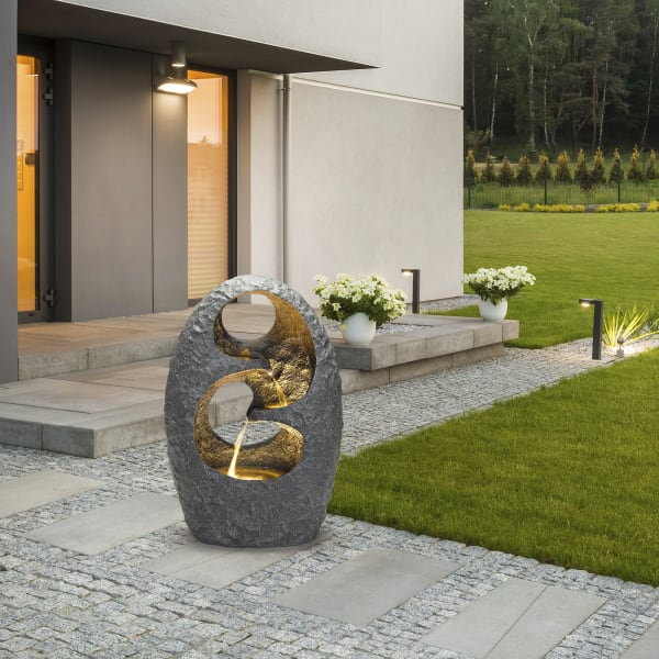 Zen Outdoor Fountain with LED Lights