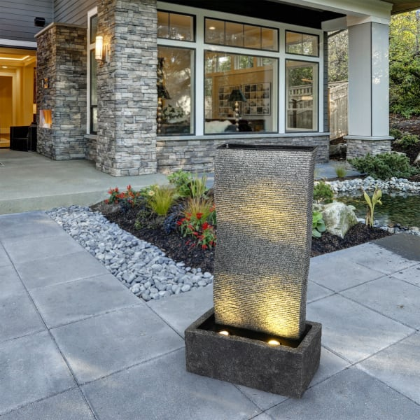 Stacked Curve Fountain with LED Lights