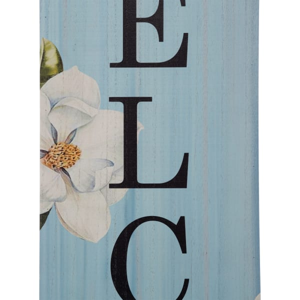 Welcome Wooden with Lilies Porch Sign