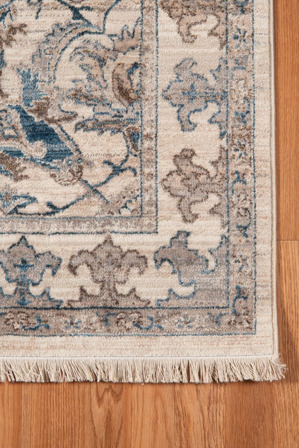 Arcelia Shay Ivory/Blue Polyester Area Rug