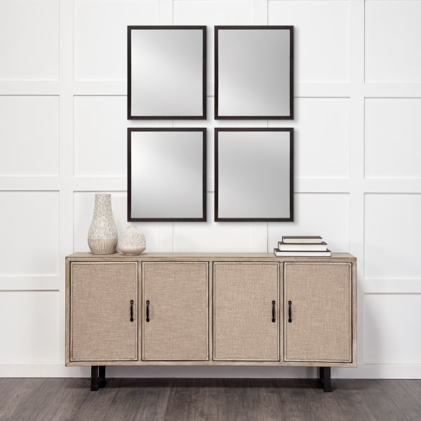 Black Faux Wood Frame Vanity Mirror