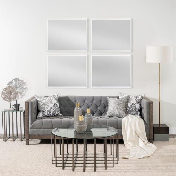White  Faux Wood Frame Vanity Mirror