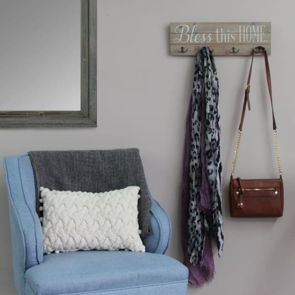 Bless This Home with Handy Metal Hooks Wall Hanging