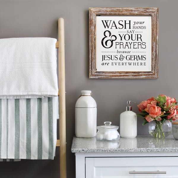 Wash Your Hands Distressed Brown Wall Art