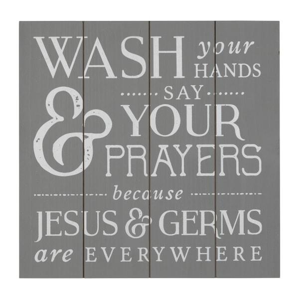 Wash Jesus and Germs Bathroom Gray Wood Wall Art