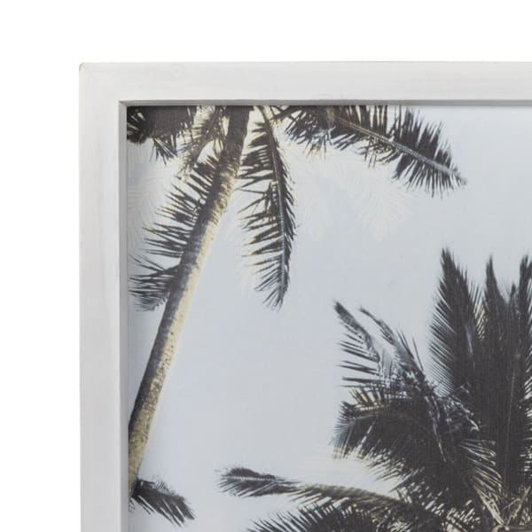 Single Palm Tree White Wood Framed Wall Art