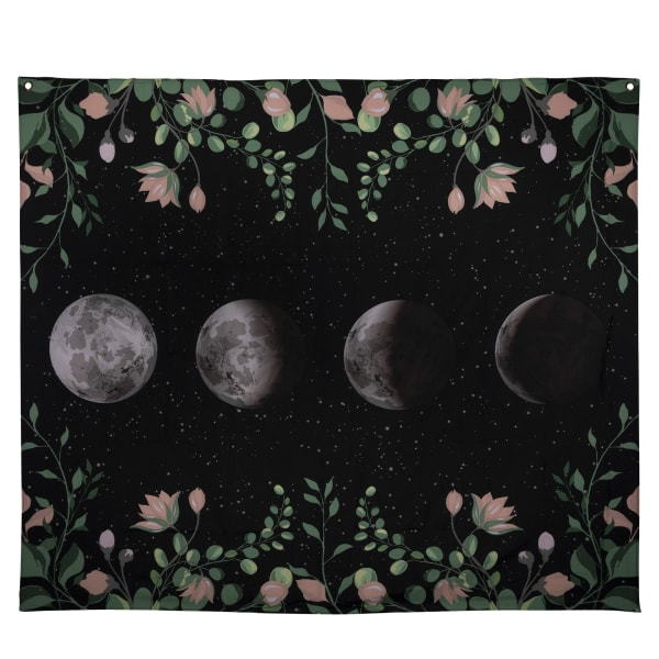 Moon Phases with Floral Border Black Wall Tapestry
