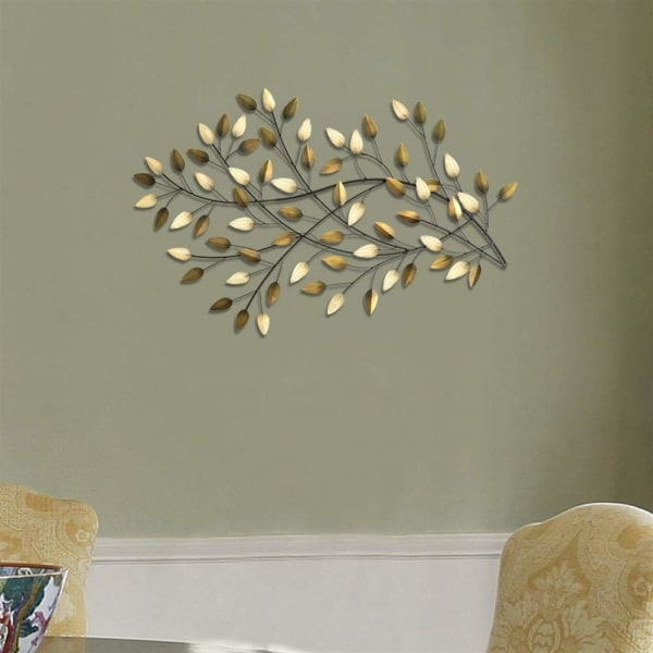 Flowing Leaves Brushed Gold Metal Wall Decor