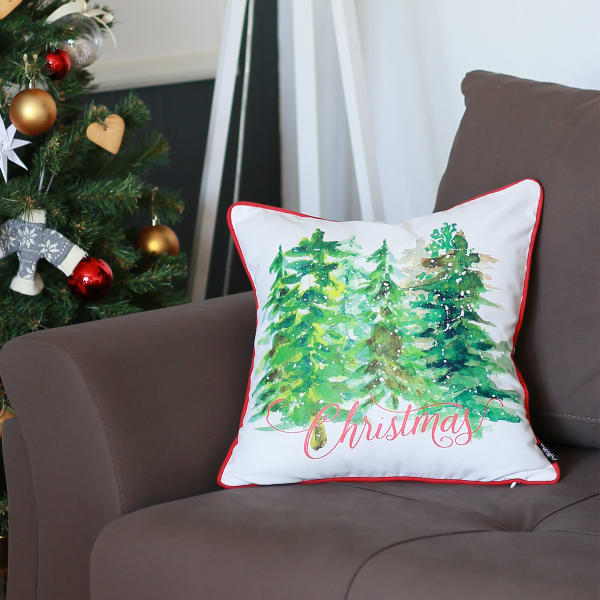 Christmas Trees Multicolor Set of 4 Throw Pillow Covers