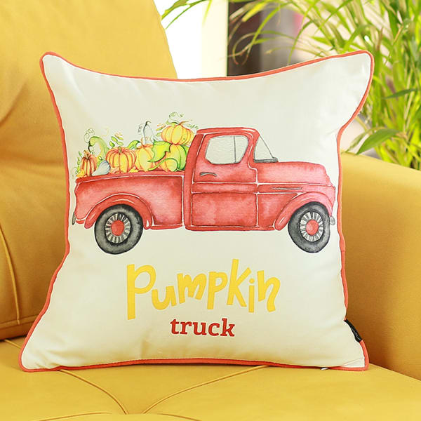 Pumpkin Truck Multicolor Set of 2 Throw Pillow Covers