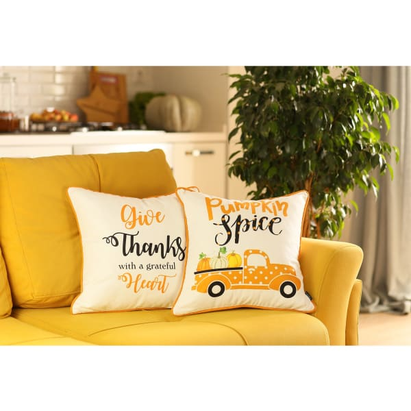 Thanksgiving Pumpkin Spice Set of 2 Multicolor Throw Pillow Covers