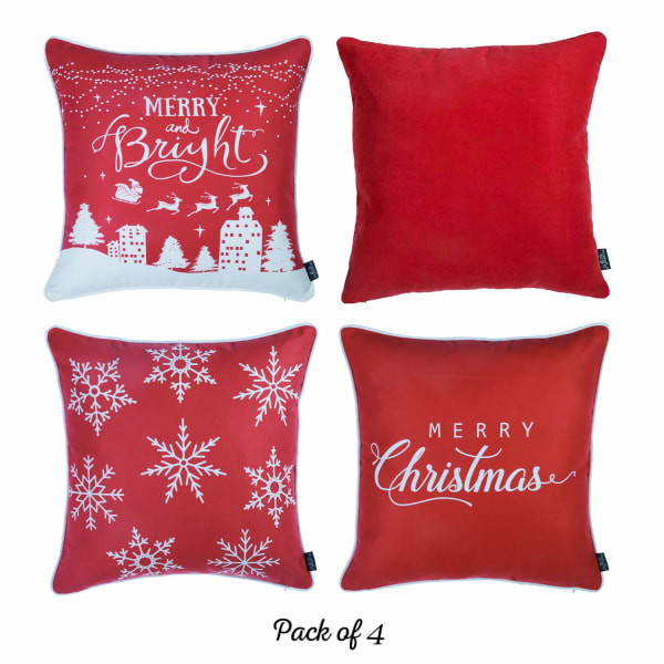 Merry Christmas Set of 4  Multicolor Throw Pillow Cover