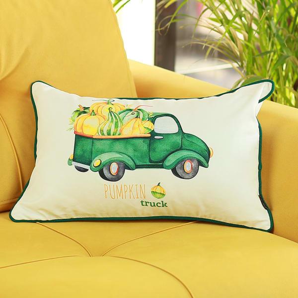 Pumpkin Truck Lumbar Set of 2  Multicolor Pillow Cover